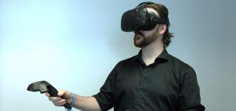 man using virtual reality
