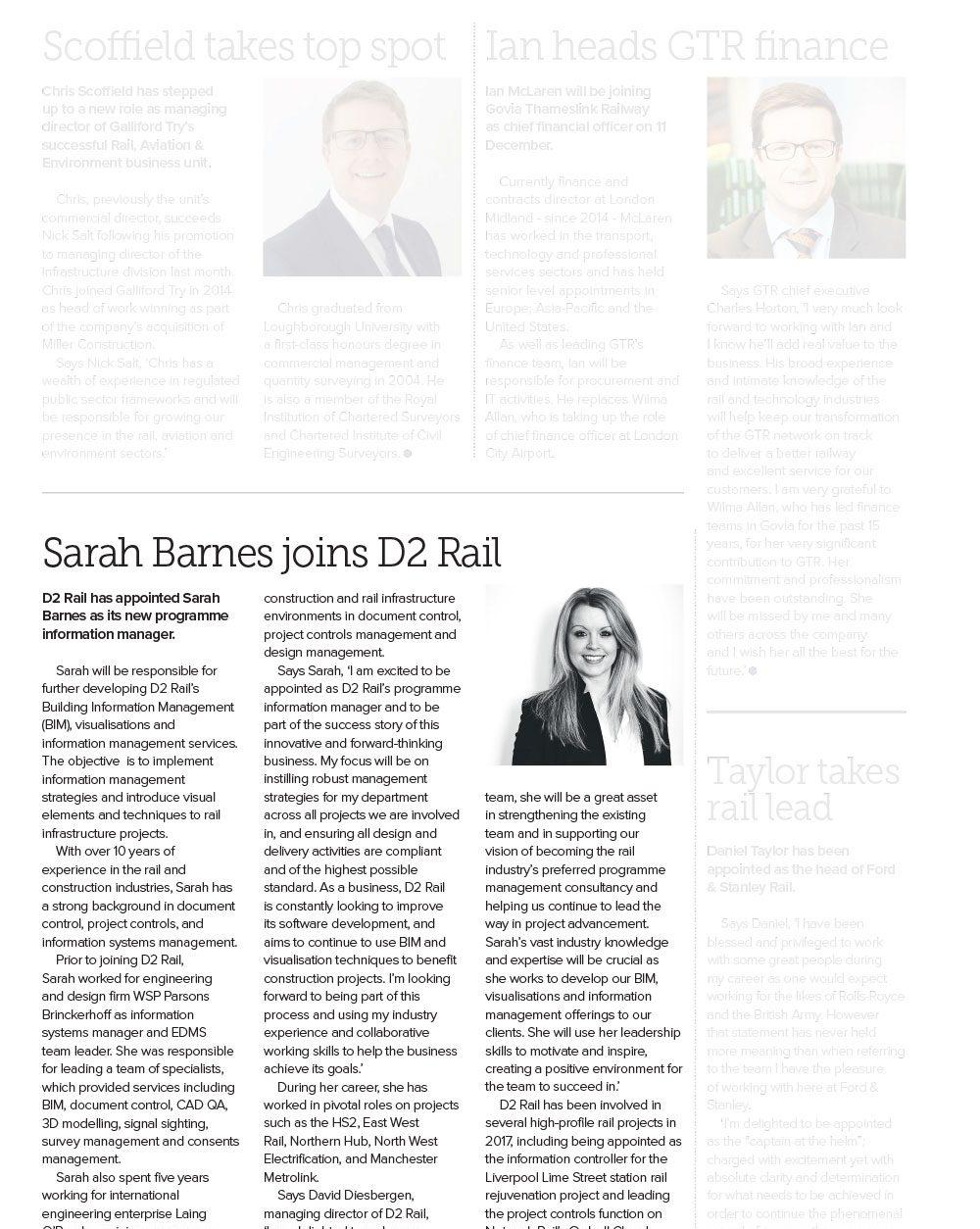 Sarah Barnes joins D2 Rail in Information Management