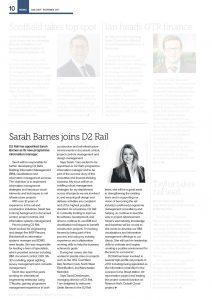 Sarah Barnes joins D2 Rail in Information Management